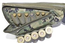 Buttstock Shotgun Rifle shell holder & Cheek Rest Pouch (Green Digital Camo)