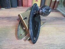 FANCY door knobs SET pair embossed EARLY 1900'S VICTORIAN vintage LOCK HARDWARE
