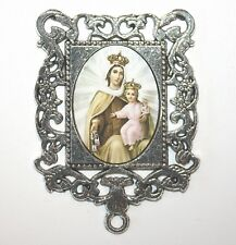 Extra LARGE SILVER Rosary Center Part | Our Lady Mount Carmel | Rosary Supplies