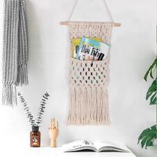 Macrame Magazine Storage Organizer Flowers Mail Holder Woven Hanging Pocket
