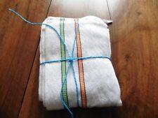 DEUX torchons vintage pur coton rayures verte orange 48x70 cm
