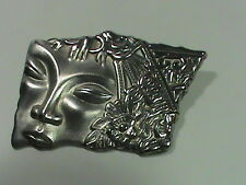 Vintage Silver Tone Decorative Face Brooch