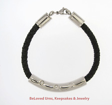 Braided Leather & Stainless Bracelet  Black And Silver Urn Jewelry With Funnel