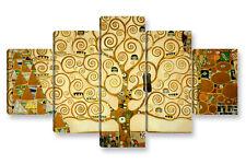 Quadro Moderno 5 pz. KLIMT L'ALBERO DELLA VITA cm 150x90 arredamento stampa tela
