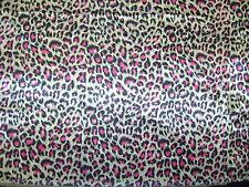 Pink cerise Animal Satin Dress Fabric Print Leopard 150cm Wide SOLD PER METRE