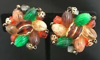 Vintage Signed Germany Earrings Gold Tone Orange Green Beads 4M