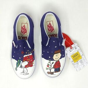 Vans Peanuts Charlie Tree Kids 11.5 Classic Slip On Christmas Shoes New
