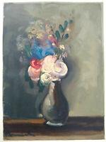 Rare bois gravé Vlaminck bouquet de fleurs état parfait gravure Raymond Jacquet
