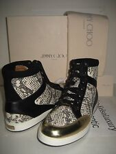 New Jimmy Choo Women 9.5 Tokyo High Top Sneakers Black White Gold Leather Shoes