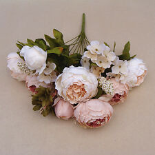 8 Head Artificial Fake Peony Silk Flower Bouquet Wedding Party Home Decor US