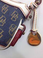 Dooney & Bourke Monogram Logo Clutch Denim Gold White Leather Small CUTE!