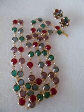 """Swarovski Swan tag Bezel Set Crystal 38"""" Necklace Earrings Blue Green Red Purple"""