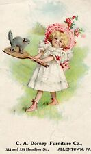 Vintage C A Dorney Furniture Girl Cat Tennis Allentown PA  Nice Ad Card A6