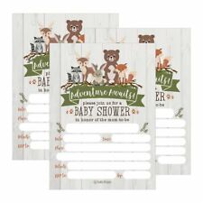 25 Cute Rustic Woodland Forest Animals Baby Shower Invitations, Printed Fill...