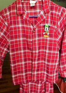 Disney Store red plaid Mickey Mouse boys girls PJs pajamas 7/8T Christmas 2pcs