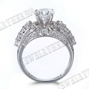 Brilliant 4.03CT Cubic Zirconia Engagement Wedding Ring Solid 10K White Gold