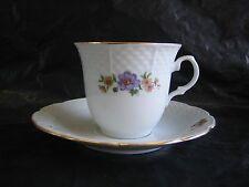 Europa Bouquet Fine Porcelain Made in Czechoslovakia Tea Cup & Saucers