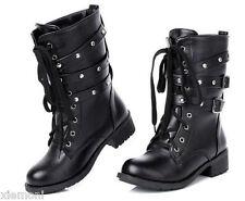 Punk Womens Goth Ankle Boots Rivet Buckle Strap Lace-Up Block Shoes Black US 9.5