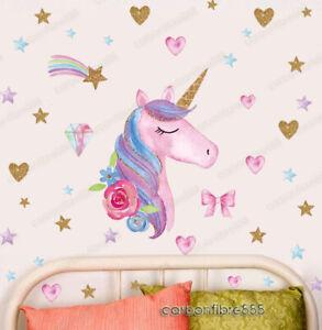 Unicorn Horse Rainbow Hearts Wall Stickers Children Girls Room Decor Art Decals