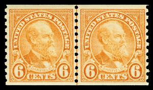 Scott 723 1932 6c Garfield Coil Issue Mint Joint Line Pair Fine OG NH Cat $82.50