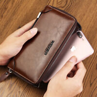 Men's Male Wallet Handbag Cowhide Wallets With Coin Pocket Zipper Double Zipper