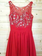 "BEAUTIFUL RED BEADED & SEQUINED FULL LENGTH EVENING DRESS  CUSTOM MADE 26"" WAIST"