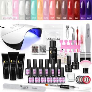 COSCELIA Nail Polish Gel Nail Full Kit with UV Lamp Nail Extension Kit Builder