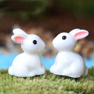 Mini Rabbit Craft Decor Miniature 2 pcs Ornament Resin Fairy Garden Party Garden