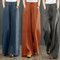 UK Womens Casual Loose Solid Long Trousers Ladies Wide Leg Baggy Pants Oversized