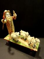 All Original AUTOMATA 3 Sheeps & Shepherd Clown With Bisque Head French Toy 1890