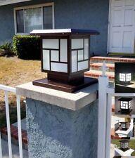 2 Solar Power Post Light Antique Bronze Metal 12 LED Path Wood Stone Brick Mason
