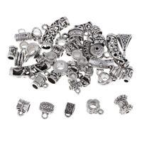 40Pc Assorted Tibetan Silver Bail Tube Bead,Spacer Bead,Bail Bead Connectors