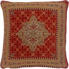 "RED GOLD AZTEC TAPESTRY CHENILLE THICK 18"" CUSHION COVER"