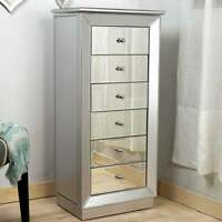 Jewelry Armoire Mirrored Chest Cabinet Silver Storage Organizer Drawers New
