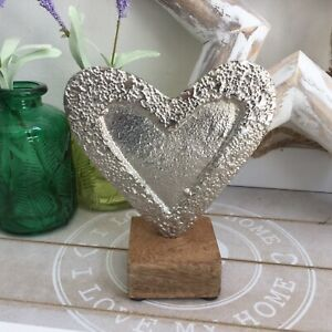 Small Silver Solid Heart On Wood  Love Heart Sculpture Ornament Shelf Sitter