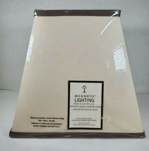 """Pottery Barn Tapered Square Lamp Shade 9"""" Mix & Match Cream Brown Trim Table Bed"""