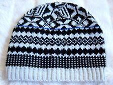 Boys Girl's Black White 70s Nordic Aztech Medium knit Beanie Hat Winter Ski Snow