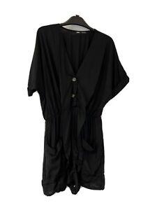 Women NEW Zara Sz:XL Mini Romper  Jump Suit Tunic NWOT Viscose Black S/S 189