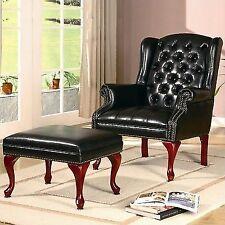 Accent Elegant Seat Tufted Wing Back Chair Ottoman Nailhead Trim Black Vinyl