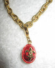 MMA Faberge Egg Red Enamel Bracelet Metropolitan Museum Fleur de Lis Charm Mint!