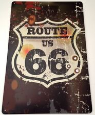 Retro Metal Wall Sign Tin plaque Vintage Shabby Chic Garage Route 66 USA Voiture US