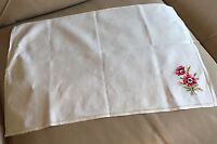 Vintage Embroidered Chair Back Tablecloth 1950s Retro Linen Red Silk Floral