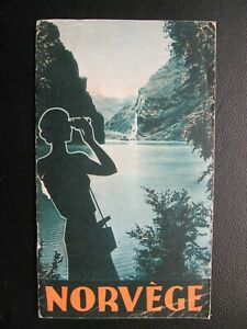 TRAVEL GUIDE + MAP VINTAGE NORWAY BROCHURE in French from 30's