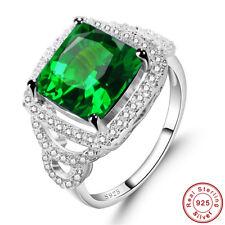 Estate Jewelry Emerald & Sapphire 100% 925 Sterling Silver Ring Sz L½ N½ P½ R½