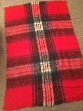 Mint Vintage Mohair Throw Lap Blanket Plaid Red 49x70 Glen Cree Mills Scotland