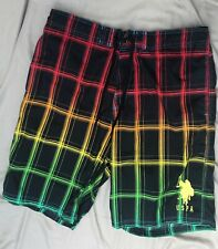 US Polo ASSOCIATION SWIM TRUNKS-MULTI COLORED CHECKED-MENS XXL