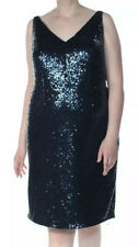 NWT Womens Dress Black Size 16W Plus Sheath Sequin Embellished V Neck
