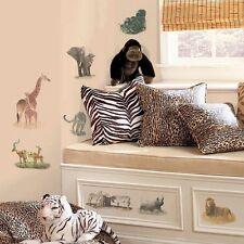Wall Sticker 19 pc Safari Gorilla Elephant Giraffe Children Room Decor New