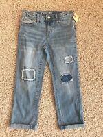 Cherokee Girl's Distressed Boyfriend Crop Jeans Size 8 Cotton Spandex NWTags