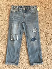 Cherokee Girl's Distressed Boyfriend Crop Jeans Size 8 Cotton Spandex NWTags